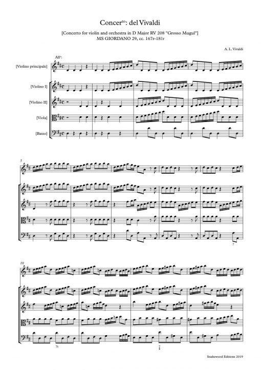 """Vivaldi – Concerto in D RV 208 """"Grosso Mogul"""" Score and parts"""